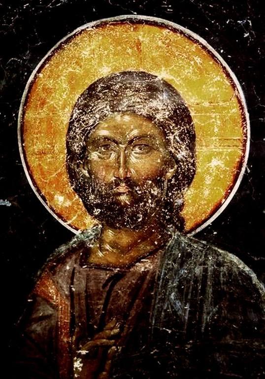 Лик Спасителя. Фреска церкви Святого Николая в монастыре Куртя де Арджеш, Румыния. XIV век.