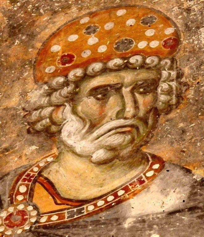 Святой Пророк Царь Давид. Фреска церкви Святой Троицы в монастыре Сопочаны, Сербия. XIII век.