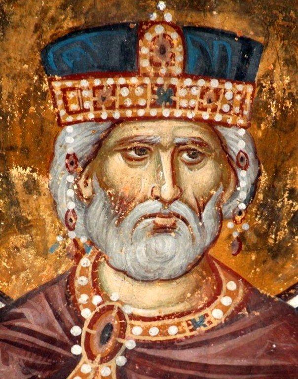 Святой Пророк Царь Давид. Фреска церкви Богородицы в монастыре Студеница, Сербия. 1568 год.