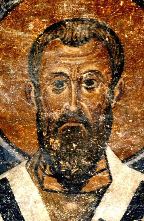 Святитель Василий Великий, Архиепископ Кесарии Каппадокийской. Фреска собора Святой Софии в Охриде, Македония. 1040-е годы.