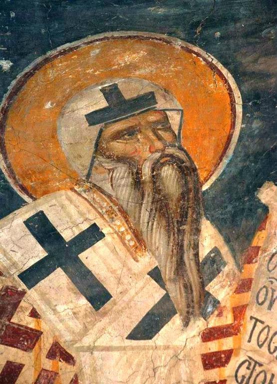 Святитель Сильвестр, Папа Римский. Фреска церкви Святого Николая в монастыре Куртя де Арджеш, Румыния. XIV век.