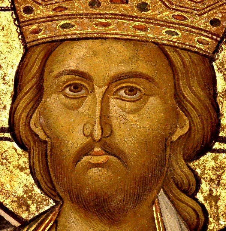 Христос Великий Архиерей. Фреска из церкви Святого Николая монастыря Куртя де Арджеш, Румыния. XIV век. Фрагмент.