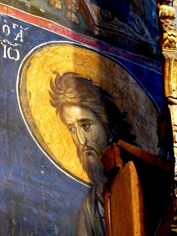 Святой Иоанн Предтеча. Фреска монастыря Высокие Дечаны, Косово, Сербия. Около 1350 года.