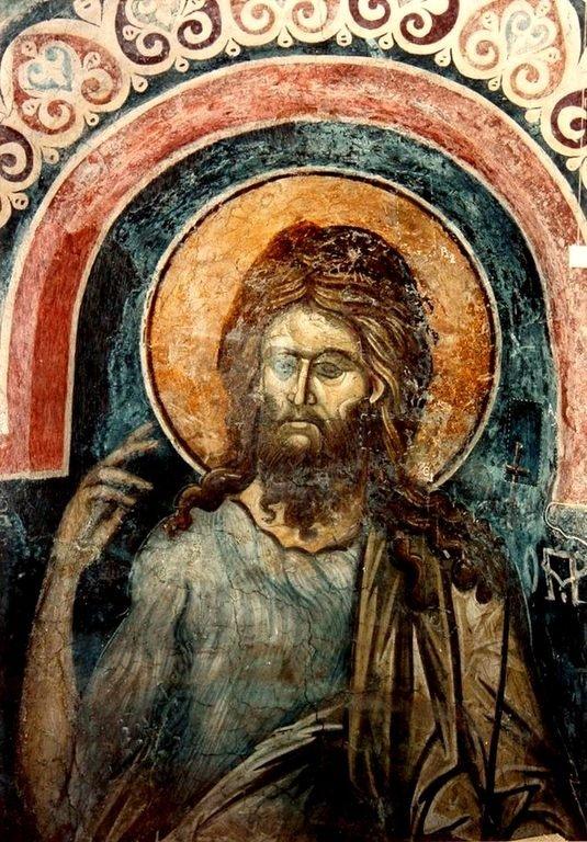 Святой Иоанн Предтеча. Фреска церкви Святого Николая в монастыре Куртя де Арджеш, Румыния. XIV век.