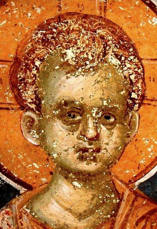 Христос Эммануил. Фреска монастыря Грачаница, Косово, Сербия. Около 1320 года.