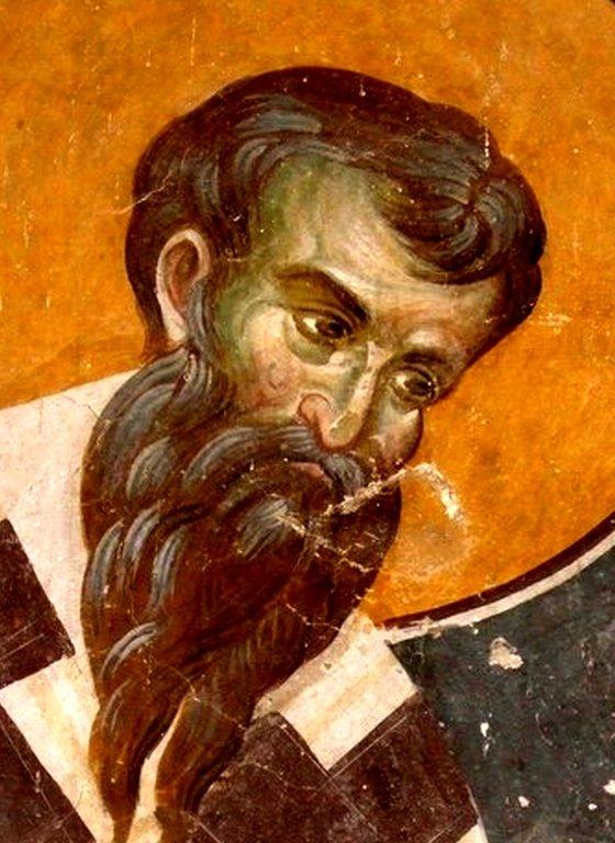 Святитель Григорий, Епископ Нисский. Фреска церкви Святых Иоакима и Анны (Королевской церкви) в монастыре Студеница, Сербия. 1314 год.