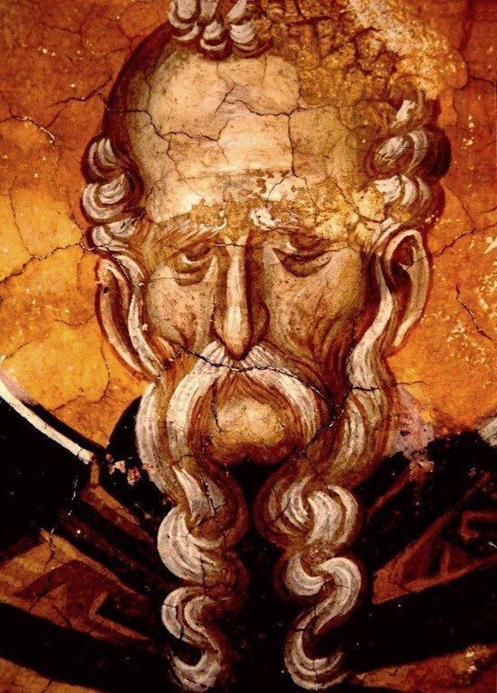 Святой Преподобный Феодосий Великий, Киновиарх. Фреска монастыря Высокие Дечаны, Косово, Сербия. Около 1350 года.