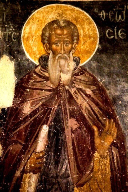 Святой Преподобный Феодосий Великий, Киновиарх. Фреска монастыря Каленич, Сербия. Около 1413 года.