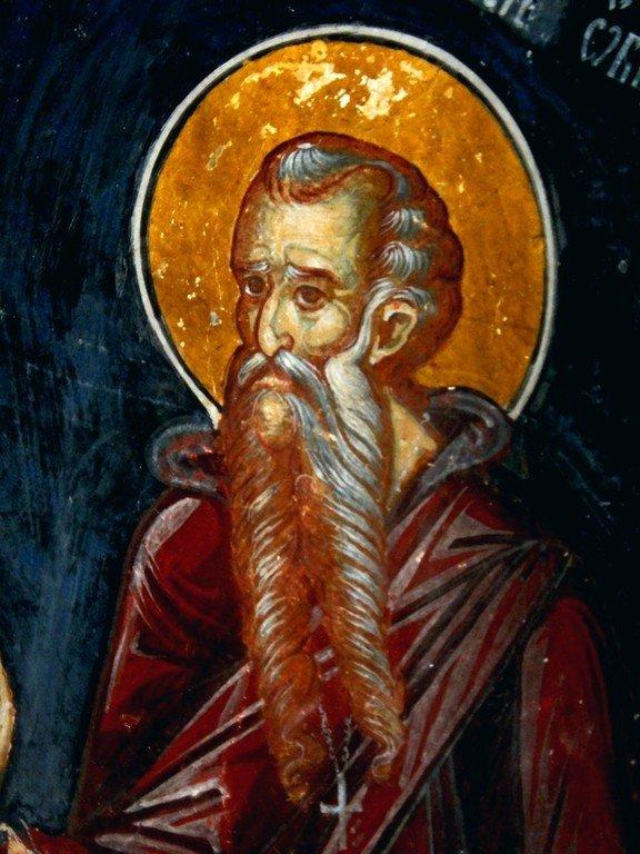 Святой Преподобный Феодосий Великий, Киновиарх. Фреска монастыря Козия, Румыния.