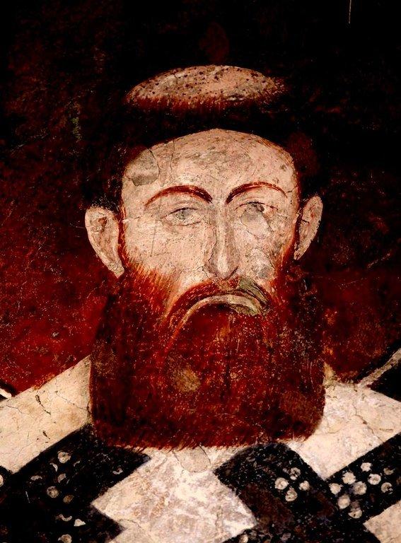 Святитель Савва, первый Архиепископ Сербский. Фреска церкви Богородицы Левишки в Призрене, Косово, Сербия. Около 1310 - 1313 годов.