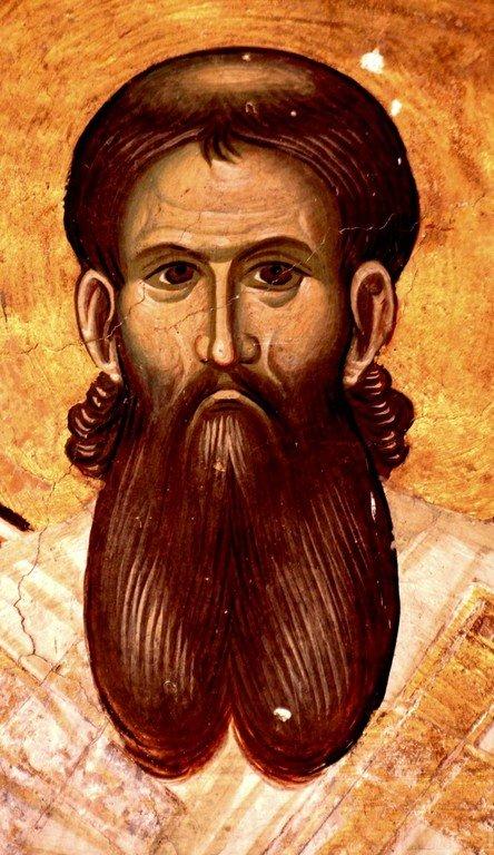 Святитель Савва, первый Архиепископ Сербский. Фреска церкви Святого Димитрия в монастыре Печская Патриархия, Косово, Сербия. XIV век.