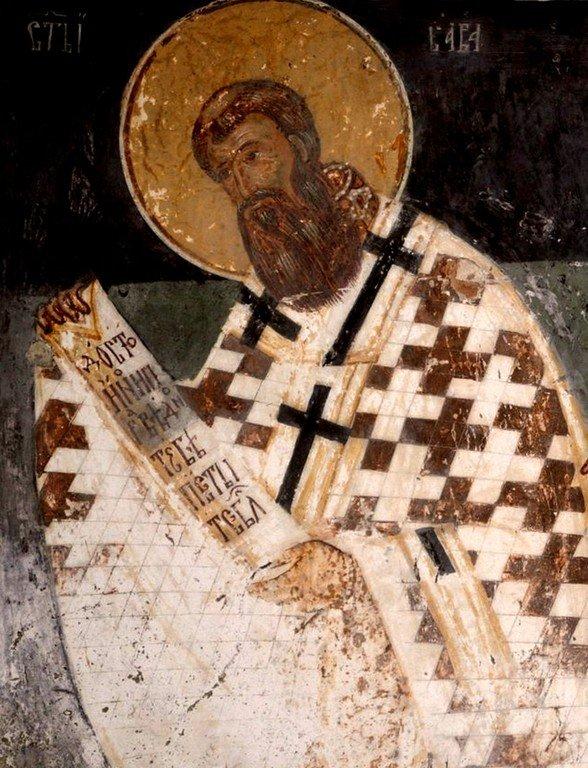 Святитель Савва, первый Архиепископ Сербский. Фреска церкви Святого Николая в селе Велика Хоча, Косово, Сербия.