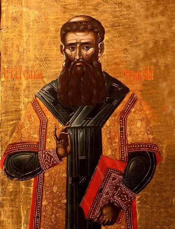Святитель Савва, первый Архиепископ Сербский. Фрагмент иконы в монастыре Морача, Черногория. 1645 год.