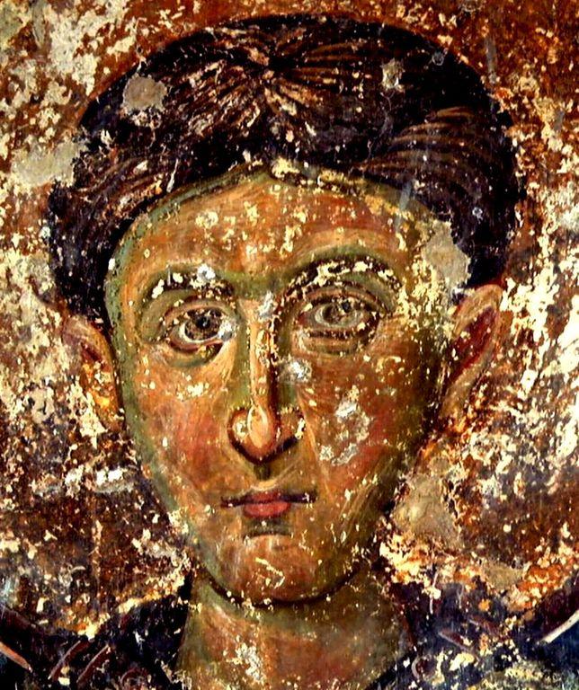 Святой Преподобный Иоанн Кущник. Фреска притвора церкви Вознесения Господня в монастыре Милешева (Милешево), Сербия. XIII век.