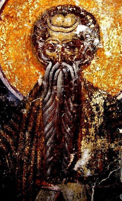 Святой Преподобный Павел Фивейский. Фреска монастыря Бистрица, Румыния. Около 1495 года.