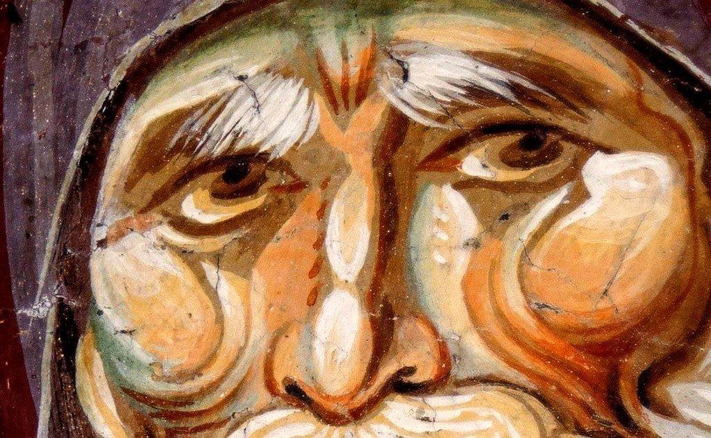 Святой Преподобный Антоний Великий. Фреска церкви Богородицы Перивлепты в Охриде, Македония. Около 1295 года. Иконописцы Михаил Астрапа и Евтихий.