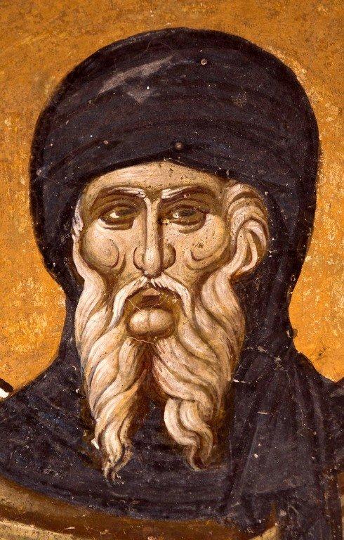 Святой Преподобный Антоний Великий. Фреска церкви Спаса в Кучевиште, Македония. 1330 - 1340-е годы.
