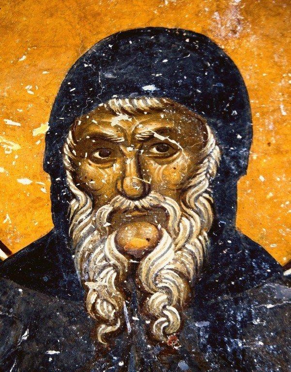 Святой Преподобный Антоний Великий. Фреска церкви Преображения Господня в монастыре Зрзе, Македония. 1368 - 1369 годы.