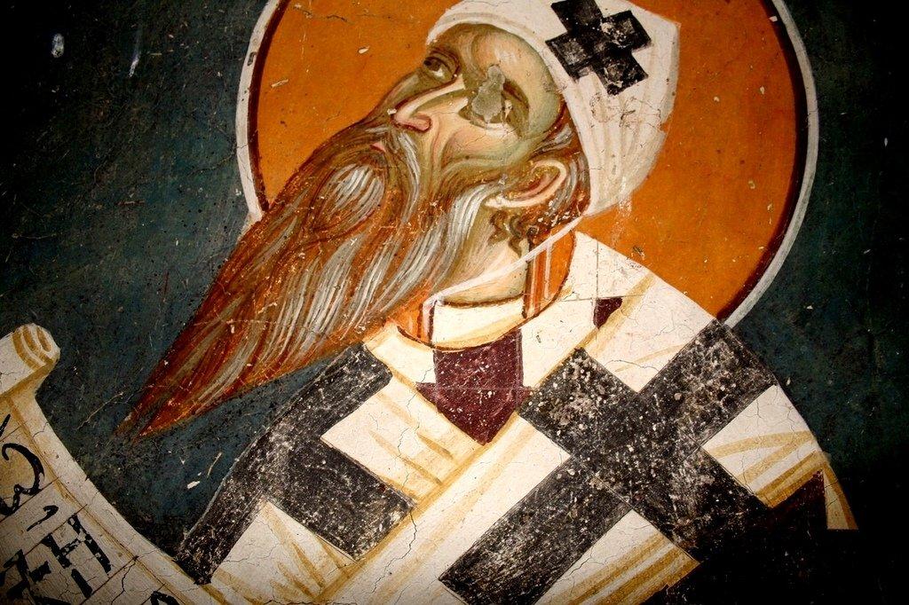 Святитель Кирилл, Архиепископ Александрийский. Фреска церкви Святого Никиты в Чучере близ Скопье, Македония. Около 1316 года. Иконописцы Михаил Астрапа и Евтихий.