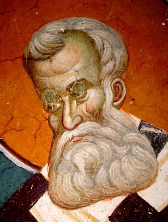 Святитель Афанасий Великий, Архиепископ Александрийский. Фреска церкви Святого Никиты в Чучере близ Скопье, Македония. Около 1316 года. Иконописцы Михаил Астрапа и Евтихий.