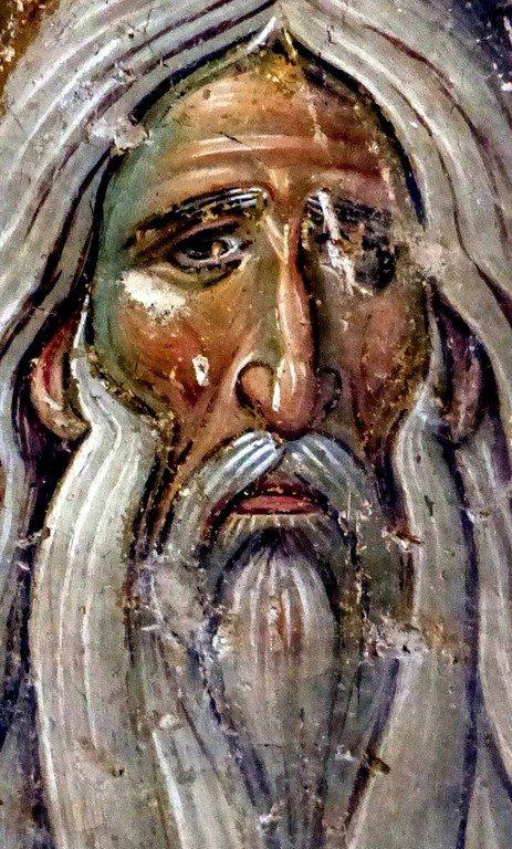 Святой Преподобный Макарий Великий, Египетский. Фреска церкви Вознесения Господня в монастыре Милешева (Милешево), Сербия. XIII век.