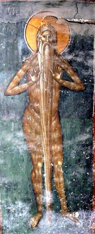 Святой Преподобный Макарий Великий, Египетский. Фреска церкви Богоматери Одигитрии в монастыре Печская Патриархия, Косово, Сербия. XIV век.