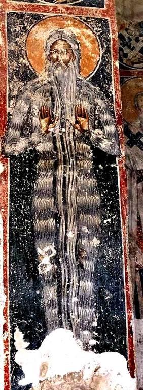 Святой Преподобный Макарий Великий, Египетский. Фреска монастыря Добрун, Республика Сербская (Босния и Герцеговина). XIV век.