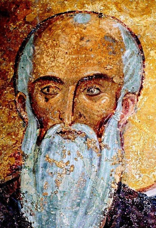 Святой Преподобный Евфимий Великий. Фреска церкви Святых Николая и Пантелеимона (Боянской церкви) близ Софии, Болгария. XIII век.