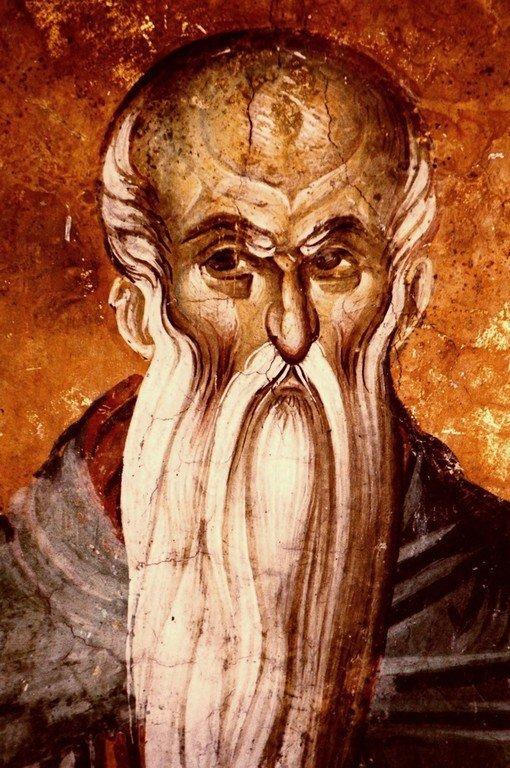 Святой Преподобный Евфимий Великий. Фреска монастыря Высокие Дечаны, Косово, Сербия. Около 1350 года.