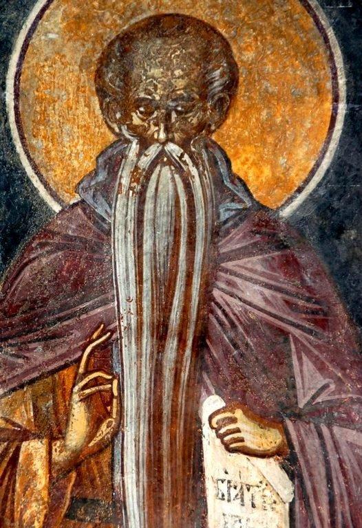 Святой Преподобный Евфимий Великий. Фреска монастыря Бистрица, Румыния. Около 1495 года.