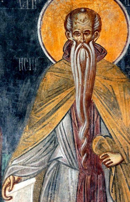 Преподобный. Фреска монастыря Бистрица, Румыния. Около 1495 года.