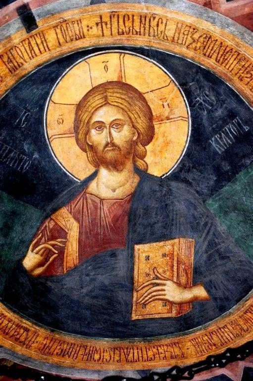 Христос Пантократор. Фреска монастыря Бистрица, Румыния. Около 1495 года.