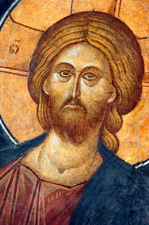 Христос Пантократор. Фреска монастыря Бистрица, Румыния. Около 1495 года. Лик Спасителя.