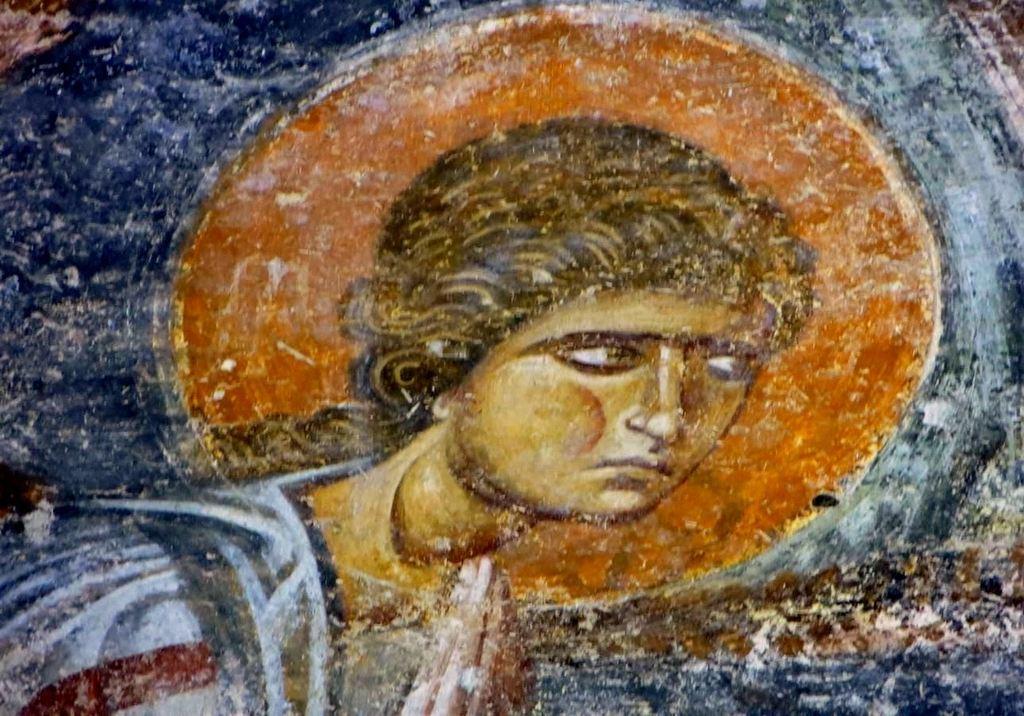 Ангел Господень. Фреска собора Святой Софии в Охриде, Македония. Около 1040 года.