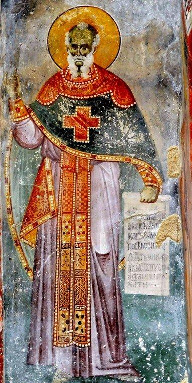 Святой Преподобный Феодор Студит, Исповедник. Фреска церкви Святых Иоакима и Анны (Королевской церкви) в монастыре Студеница, Сербия. 1314 год.
