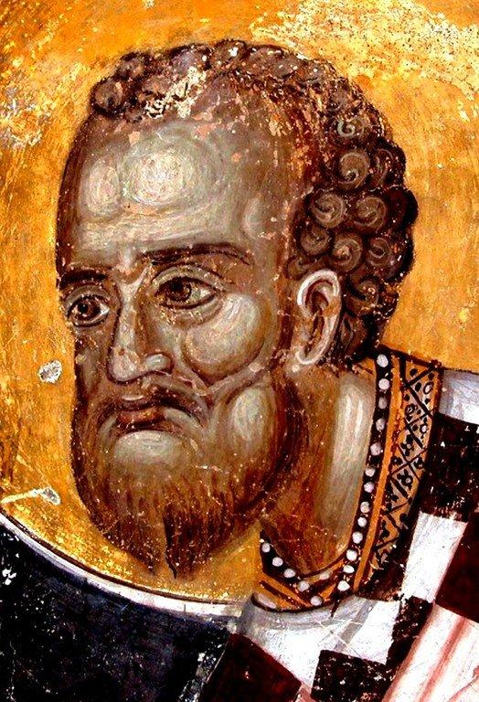 Святитель Иоанн Златоуст. Фреска монастыря Святого Прохора Пчиньского, Сербия. 1488 - 1489 годы.