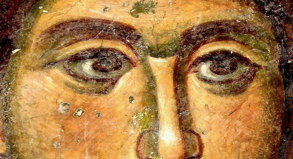 Святой Мученик Трифон. Фреска придела Святого Симеона Мироточивого церкви Святой Троицы в монастыре Сопочаны, Сербия. XIII век. Фрагмент.