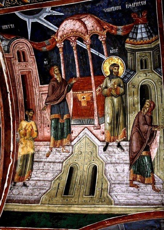 Притча о мытаре и фарисее. Фреска притвора монастыря Печская Патриархия, Косово, Сербия. XVI век.