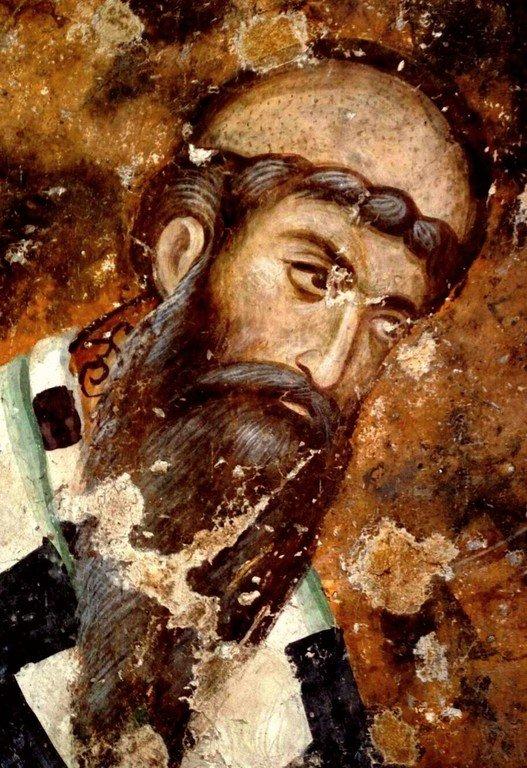 Святитель Савва II, Архиепископ Сербский. Фреска церкви Святой Троицы в монастыре Сопочаны, Сербия. XIII век.