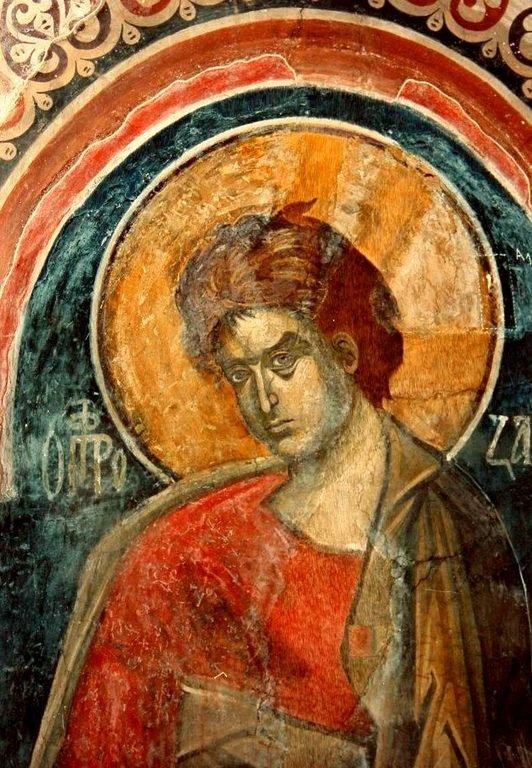Святой Пророк Захария Серповидец. Фреска церкви Святого Николая в монастыре Куртя де Арджеш, Румыния. XIV век.