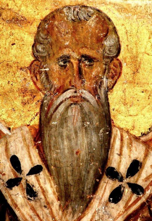 Священномученик Харалампий, Епископ Магнезийский. Фреска церкви Богородицы в монастыре Студеница, Сербия. 1208 - 1209 годы.