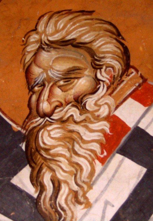 Священномученик Власий, Епископ Севастийский. Фреска церкви Святого Димитрия Маркова монастыря близ Скопье, Македония. Около 1376 года.