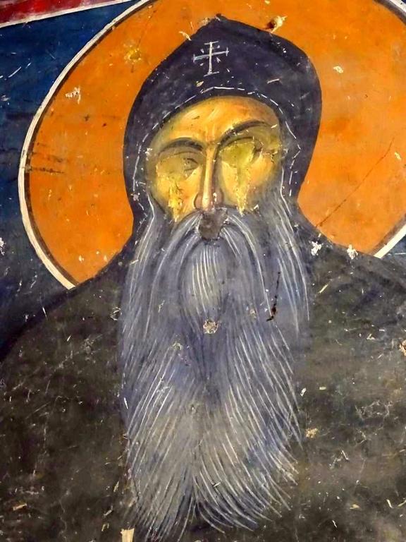 Святой Преподобный Симеон Мироточивый. Фреска церкви Святого Николая в монастыре Псача, Македония. 1365 - 1377 годы.