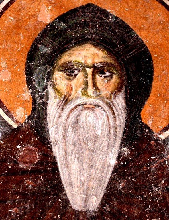 Святой Преподобный Симеон Мироточивый. Фреска придела Святого Симеона Мироточивого церкви Святой Троицы в монастыре Сопочаны, Сербия. XIII век.