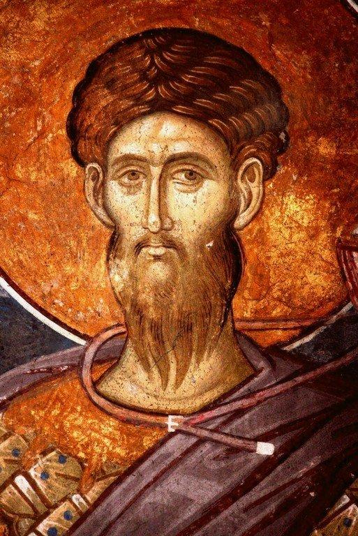 Святой Великомученик Феодор Тирон. Фреска монастыря Высокие Дечаны, Косово, Сербия. Около 1350 года. Фрагмент.