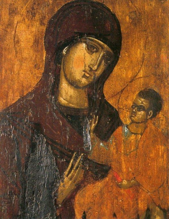 Богоматерь Одигитрия. Сербская икона середины XIV века. Церковь Святого Николая Чудотворца в Призрене, Косово, Сербия.