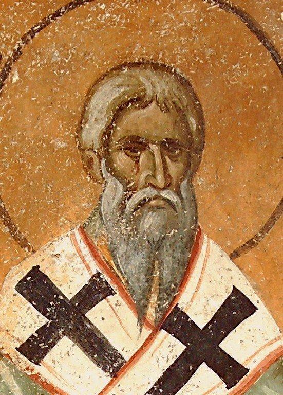Священномученик Поликарп, Епископ Смирнский. Фреска церкви Святой Троицы в монастыре Сопочаны, Сербия. XIII век.