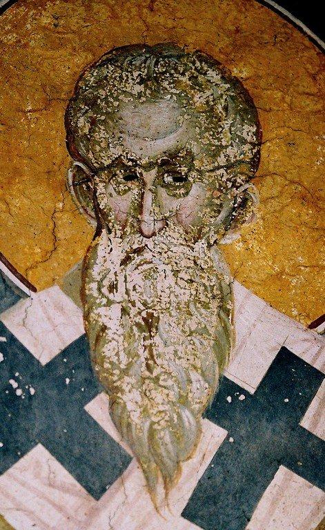 Священномученик Поликарп, Епископ Смирнский. Фреска монастыря Грачаница, Косово, Сербия. Около 1320 года.