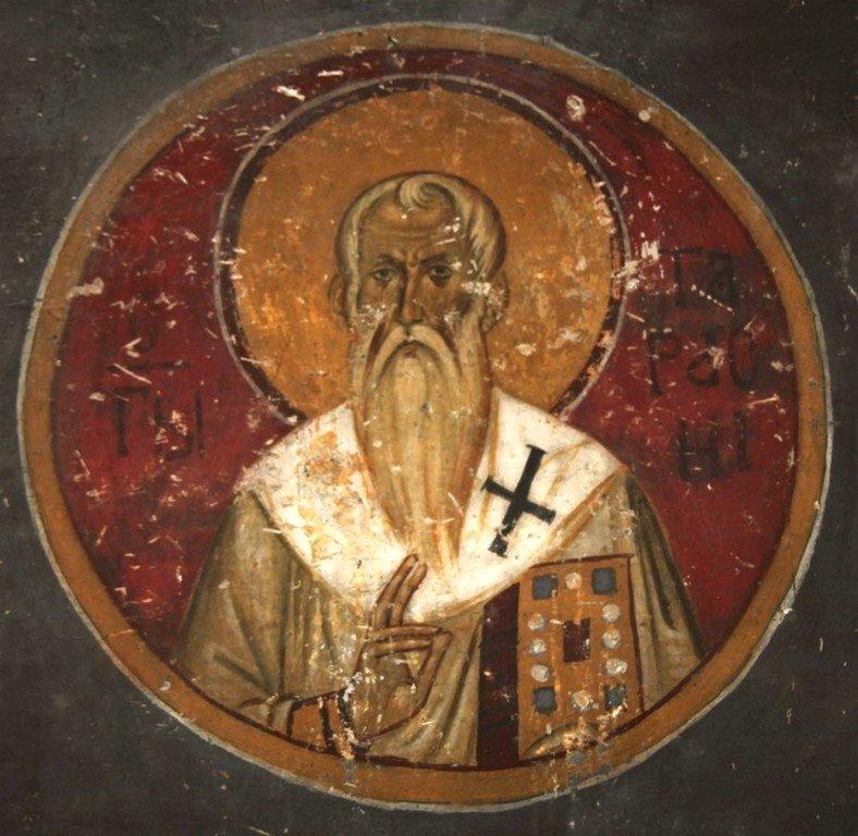 Святитель Тарасий, Архиепископ Константинопольский. Фреска церкви Богородицы в монастыре Студеница, Сербия. 1208 - 1209 годы.