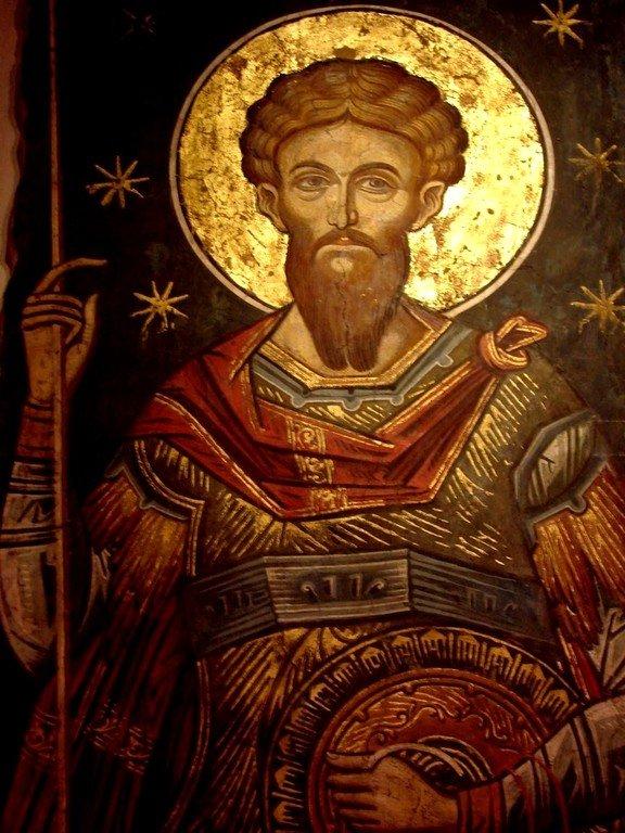 Святой Великомученик Феодор Тирон. Фреска из церкви Святого Николая монастыря Куртя де Арджеш, Румыния. XIV век.